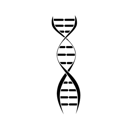 DNA molecule spiral with double stroke strands, science icon design for biology research, black outline isolated on white background, vector illustration