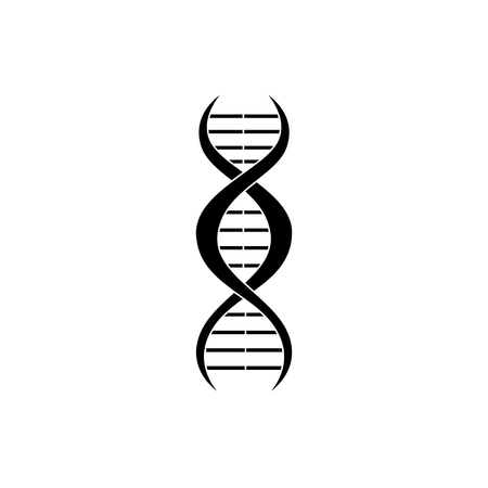 Flat silhouette of DNA icon on isolated white background. Symbol of science, biology, medicine and genetics. Vector illustration of DNA.