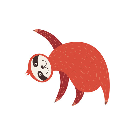 Cute sloth standing bent to the side with paws raised up cartoon style, vector illustration isolated on white background. Smiling funny lazy animal in yoga pose