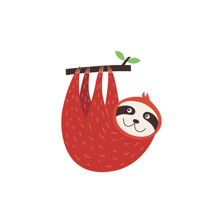 Cute sloth hanging upside down from a tree, happy red baby animal looking up to branch with leaves, cartoon character smiling isolated on white background, vector illustration