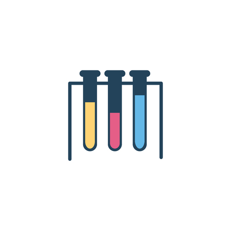 Laboratory tubes with yellow, red and blue liquid inside for scientific, chemical and medical research. Equipment for biological and genetic experiments, flat vector illustration of test tubes.