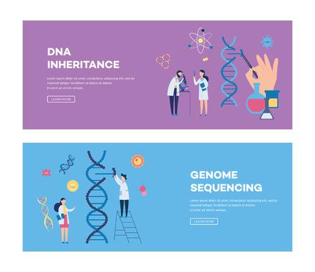 Herencia del ADN y secuenciación del genoma. Banner de página de destino del sitio web con personajes de dibujos animados científicos y biotecnología y cromosomas genéticos para la investigación genética - ilustración vectorial