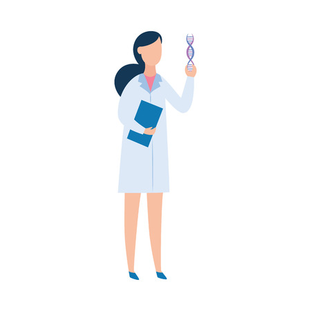Brunette woman in a medical gown, a doctor or a scientist holding a DNA. Woman geneticist and scientist explores DNA and genes. The concept of the sequencing of the genome, flat vector illustration.
