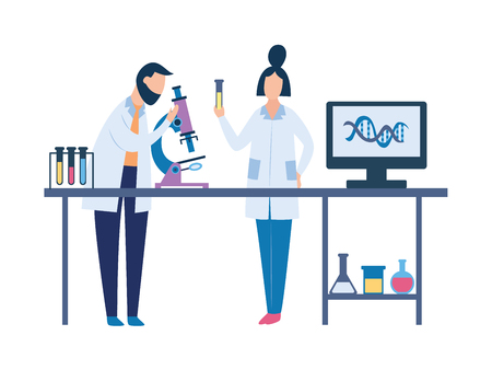 Two scientists in science laboratory doing chemistry research. Man and woman cartoon characters doing lab test with microscope and other equipment on table - isolated vector illustration  イラスト・ベクター素材