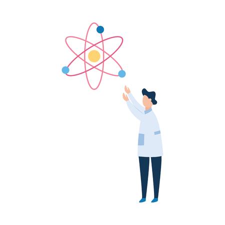 L'uomo scienziato brunet o il fisico in un grembiule medico bianco esplora l'atomo. Il concetto di ricerca scientifica, illustrazione vettoriale piatta Vettoriali