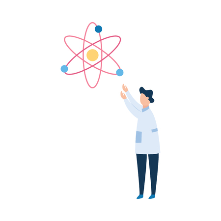 Man brunet scientist or the physicist in a white medical smock explores the atom. The concept of scientific research, flat vector illustration