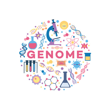 Genome related objects, medical research and DNA spiral genetic structure icons in circle banner, biology and health science items and microscope, cartoon vector illustration on white background Иллюстрация