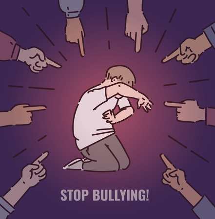 Stop bullying concept for posters, banners. A group of bully people are bullying a afraid boy child, point fingers at him. Social bullying at school, children abuse, vector cartoon illustration. Ilustracja