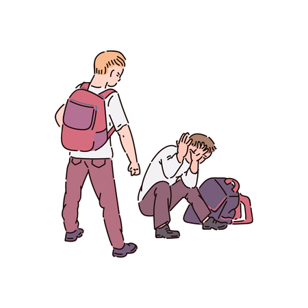 A bully child with bad behavior makes a bullying and prepares to beat the boy. School fights between children, violence and bullying, vector cartoon illustration.