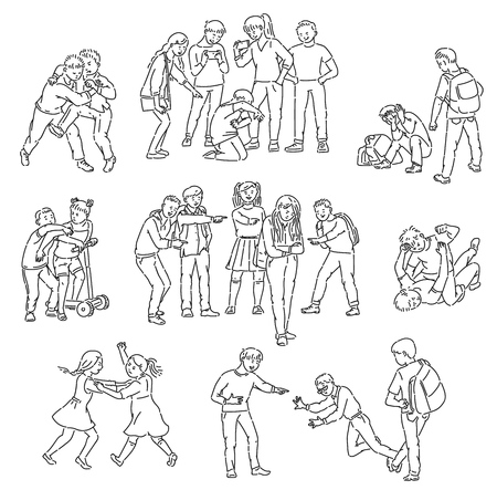 Outline sets of conflict and fights, abuse and personal violence, bullying with aggressive school bully and victim, vector isolated cartoon line illustration.