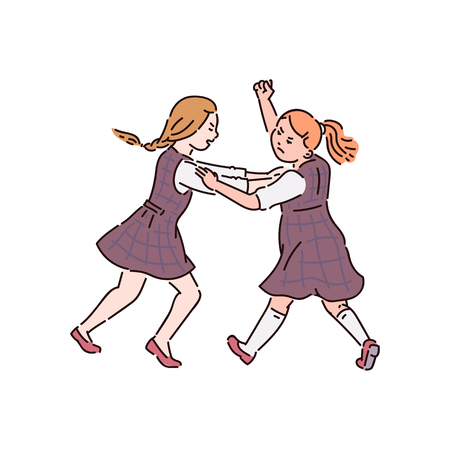 Conflicto y lucha, violencia y acoso entre niños en la escuela, dos niñas adolescentes están peleando, ilustración de dibujos animados de vectores.
