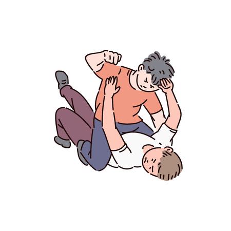 Due bambini di un ragazzo prepotente stanno combattendo, combattono i bambini e fanno il prepotente a scuola, illustrazione del fumetto di vettore. Vettoriali