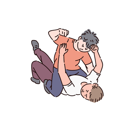 Two kids of a bully boy are fighting, childrens fight and bullying at school, vector cartoon illustration.