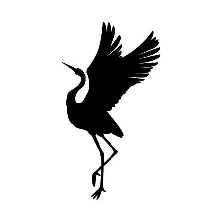 Simbolo di inchiostro nero sagoma o ombra di un uccello gru o un airone in piedi e icona danzante. Modello di taglio di contorno di cicogna o illustrazione vettoriale di sfondo creativo isolato su bianco. Vettoriali