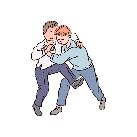 Boys bullies fight and kick, school bullying and kids fight, vector cartoon illustration. Illustration