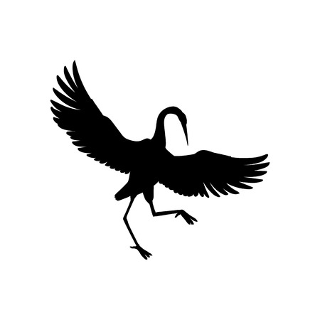 Silhouette or shadow black ink symbol of a crane bird or heron standing and dancing icon. Stork outline cutting template or creative background vector illustration isolated on white.  イラスト・ベクター素材