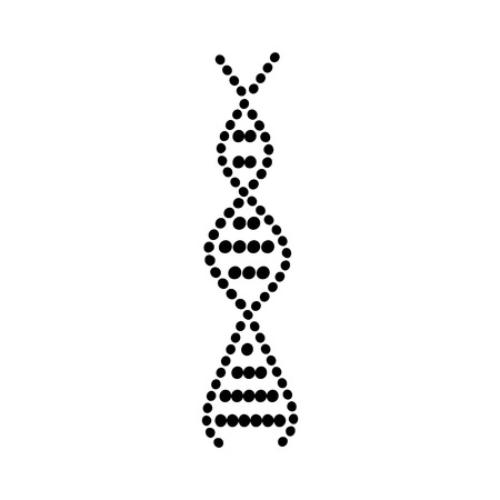 DNA spiral icon with round molecule spheres, biology science symbol design as black curvy silhouette isolated on white background, genetic medicine and chromosome research vector illustration