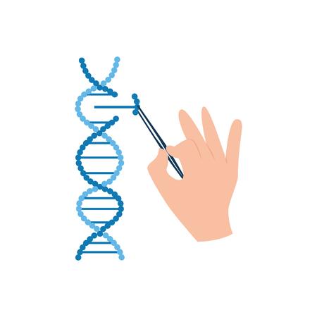 DNA-Forschung in der Biotechnologie, Wissenschaftlerhand, die ein Stück Molekülstrang mit Pinzette, CRISPR und medizinischer Genbearbeitung isolierter Vektorillustrationen in eine Spirale entfernt oder hinzufügt Vektorgrafik