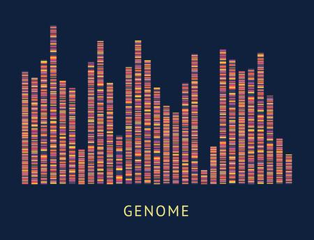Diagrama de visualización del patrón de datos del genoma. Secuencia de ADN y análisis de mapeo de cromosomas, análisis de grandes datos genómicos coloridos - ilustración vectorial sobre fondo negro