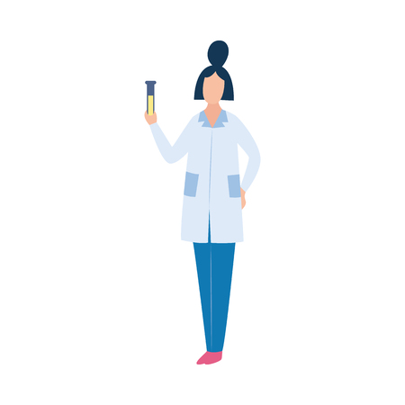 Scientist holding liquid sample in beaker, chemical laboratory experiment for medicine and science, flat cartoon chemist character with test tube, isolated vector illustration on white background Banque d'images - 128169941