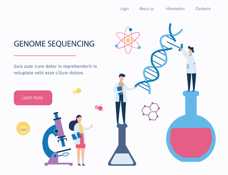 Genome sequencing - DNA medical research by cartoon scientist characters, website interface with gene and genetic health study in biology lab with DNA spiral and molecules - flat vector illustration Ilustração