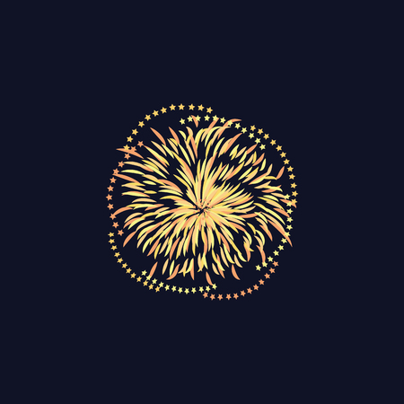 Celebration event or festival firework vector illustration isolated on night sky background. Element of firecrackers light rays for design party and sale banners.