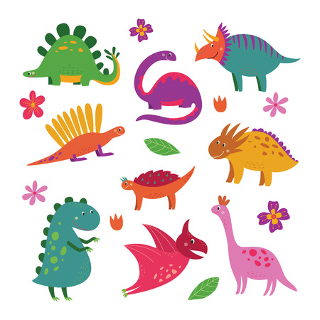 Set of cute cartoon dinosaurs, funny smiling dino collection for children. Hand drawn triceratops, t rex, pterodactyl and other extinct animals isolated on white background, vector illustration