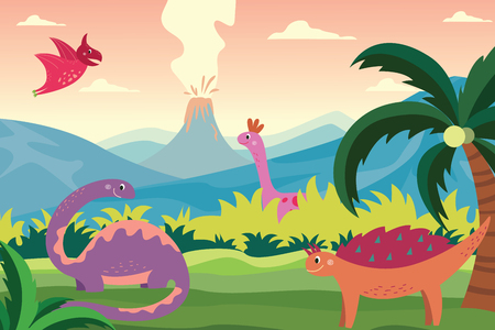 Cartoon dinosaurs in summer landscape background. Cute happy prehistoric animals in green nature looking at volcano erupting, mountains and palm tree scene, vector illustration
