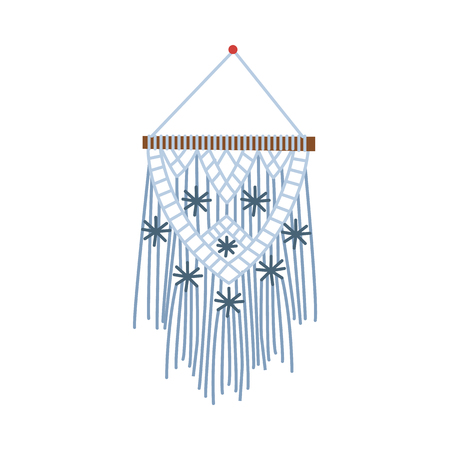Macrame icon, ornate elegant handmade object knitted with blue thread, snowflake and star pattern on wall hanging textile craft decoration, isolated flat vector illustration on white background Illustration