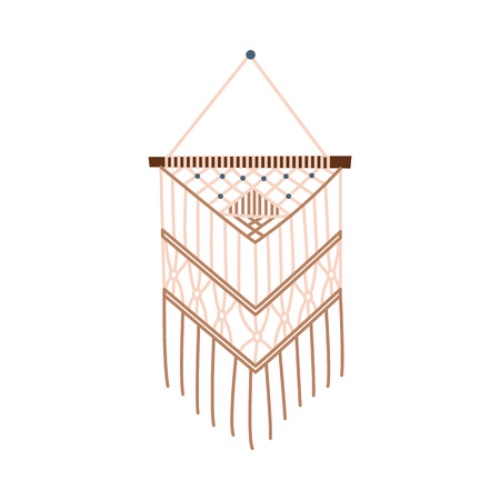 Beige macrame wall hanging decoration, diy craft project icon. Handmade knot design for bohemian interior decor and cozy home, isolated flat vector illustration on white background Ilustração