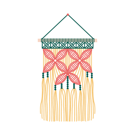 Floral macrame design, wall hanging decoration with red flowers on green and yellow thread fringe, handmade knot craft decor isolated on white background - flat vector illustration