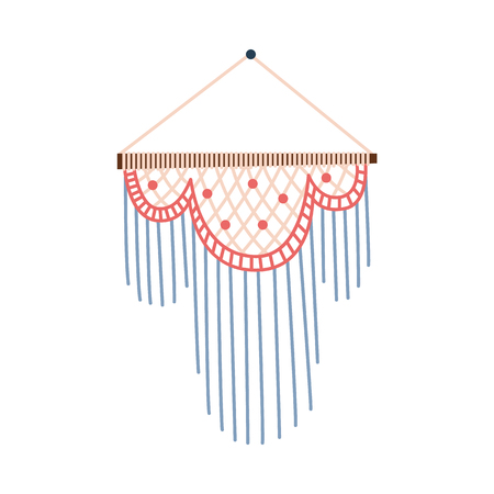 Pastel macrame wall hanging decoration, hand craft diy ornament for interior design, Japanese native art of geometric knit work. Isolated flat vector illustration on white background
