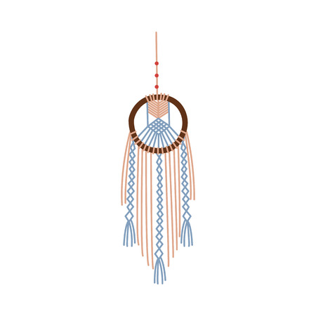 Handmade macrame icon, dream catcher style Indian design craft, circle frame knot with thread fringe, wall hanging interior decoration, diy hobby vector illustration isolated on white background