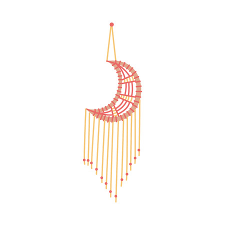 Crescent-shaped macrame decoration flat sketch style, vector illustration isolated on white background. Wall hanging home decor, art product handmade of red and yellow cotton cord
