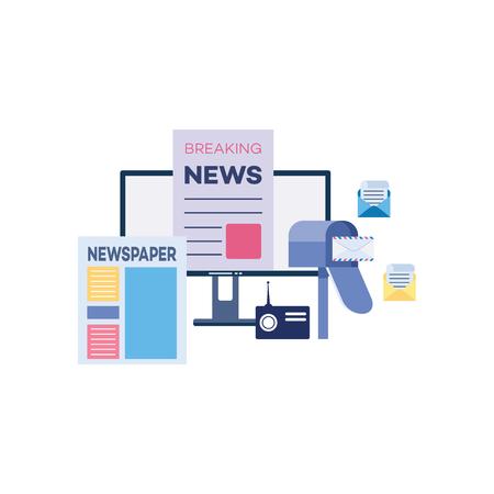 Marketing in uscita con giornali e notizie trasmesse nei media digitali. Monitor del computer con strumenti di comunicazione sociale - posta, radio e carta con titoli, illustrazione vettoriale web piatto isolato