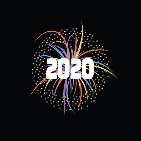 Fuegos artificiales brillantes o petardos sobre un fondo negro para una fiesta de feliz año nuevo 2020. Ilustración vectorial festiva de fuegos artificiales de año nuevo 2020.