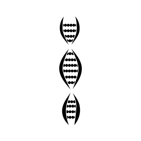 Silhouette of chromosome DNA, genetics and medicine, biology and science icon. Isolated vector illustration of a DNA molecule and the gene.