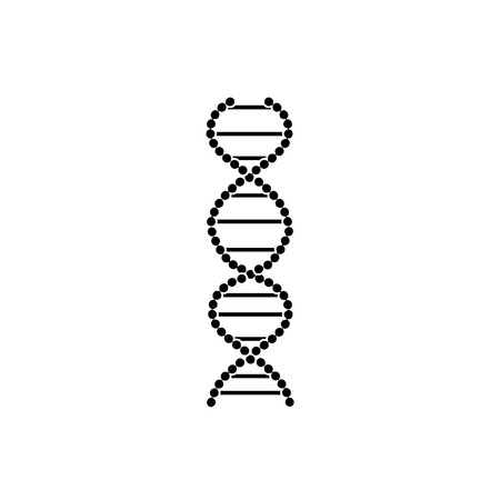 Flat sign and DNA icon, symbol of medicine, biology and genetics. Vector isolated illustration of DNA.
