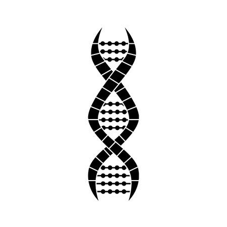 DNA molecule strand, science icon black on white background, simple cartoon design of spiral shape for chromosome medicine research and biology symbol, isolated flat vector illustration
