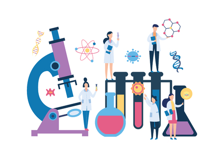 Group biology scientist people and huge laboratory equipment flat cartoon style, vector illustration isolated on white background. Engineers exploring DNA genome, giant microscope and test tubes Illustration