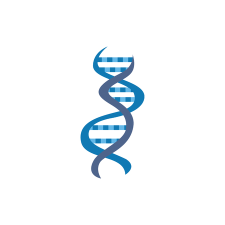 DNA or genome molecule scientific icon vector illustration isolated on white background for web and mobile apps. Bio and nano technology concept of human genetics.