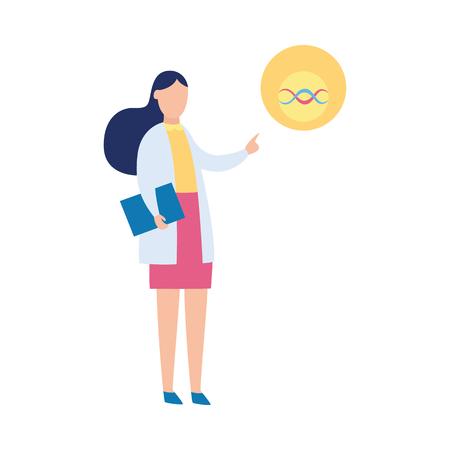 Vrouwelijke wetenschapper die DNA-spiraal, biologieonderzoekspresentatie toont door vrouw in laboratoriumjas, biotechnologie en medische wetenschap professionele toespraak, die op witte achtergrond wordt geïsoleerd - vectorillustratie. Vector Illustratie