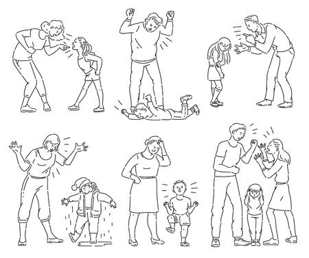 Conjunto de padres enojados discutiendo con el niño. Colección en blanco y negro de madre y padre gritando a un niño o hijo haciendo una rabieta, ilustración de vector de dibujos animados aislado de estilo de arte de línea de libro para colorear