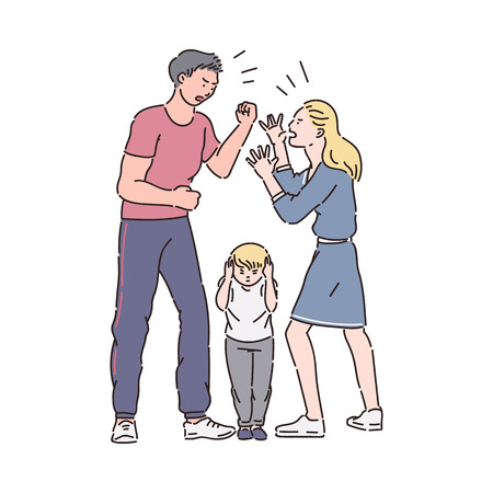Family fight - angry couple arguing in front of a child. Unhappy man and woman yelling while sad son listens, mother and father dispute, flat hand drawn isolated cartoon sketch vector illustration
