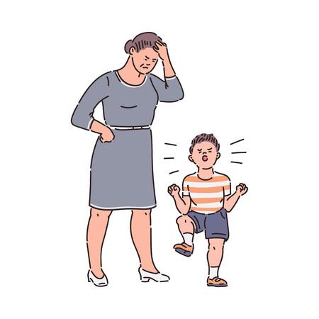 Familieconflict - kind gooit driftbui naar vermoeide moeder. Triest ouder boos op ondeugende jongen met slecht gedrag, cartoon schets stijl hand getekende vectorillustratie geïsoleerd op een witte achtergrond. Vector Illustratie