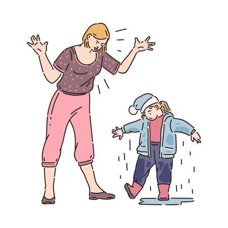 Mother angry at child for wet dirty clothes after rain. Family conflict, parent anger at bad behavior, sad daughter listening to reprimand, isolated cartoon vector illustration on white background
