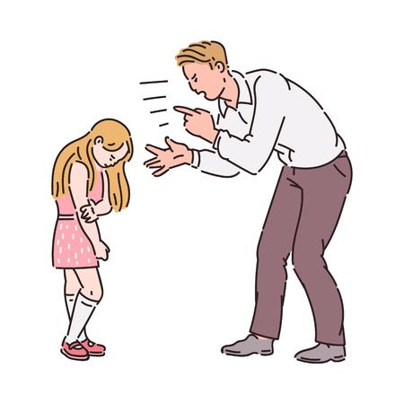 Padre arrabbiato che urla alla bambina. Conflitto familiare tra adulto sconvolto e bambino spaventato infelice, simbolo di relazione genitore figlio cattivo, illustrazione vettoriale di schizzo del fumetto isolato su sfondo bianco