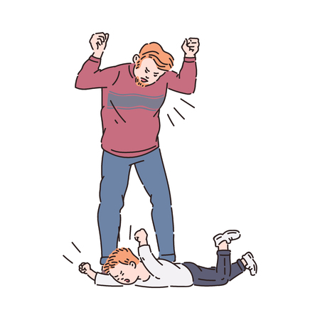 Child trowing a tantrum and father yelling. Flat cartoon characters drawing of family conflict between tired angry man and his crying son lying on floor, isolated vector illustration Vectores