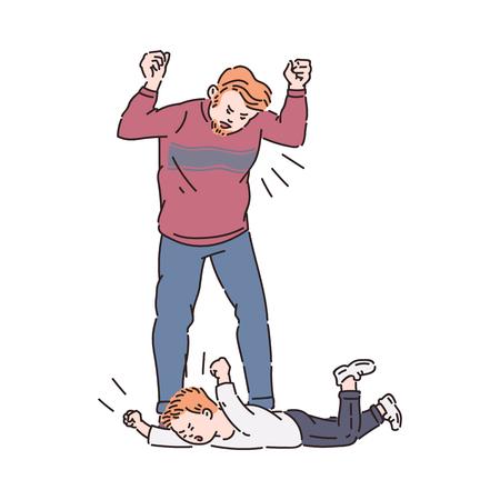 Niño haciendo una rabieta y padre gritando. Personajes de dibujos animados planos que dibujan el conflicto familiar entre el hombre enojado cansado y su hijo llorando tirado en el piso, ilustración vectorial aislada Ilustración de vector