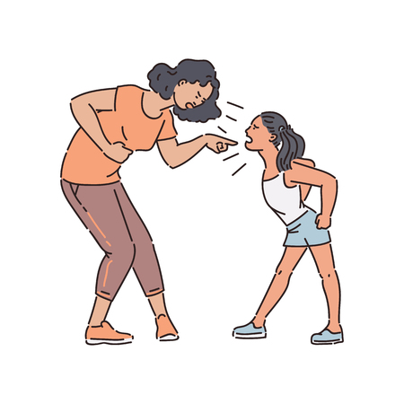 Dorosła kobieta i młoda dziewczyna teen stoją, kłócąc się i krzycząc styl szkic, wektor ilustracja na białym tle. Matka trzymająca się za brzuch i besztająca agresywną wrzeszczącą córkę